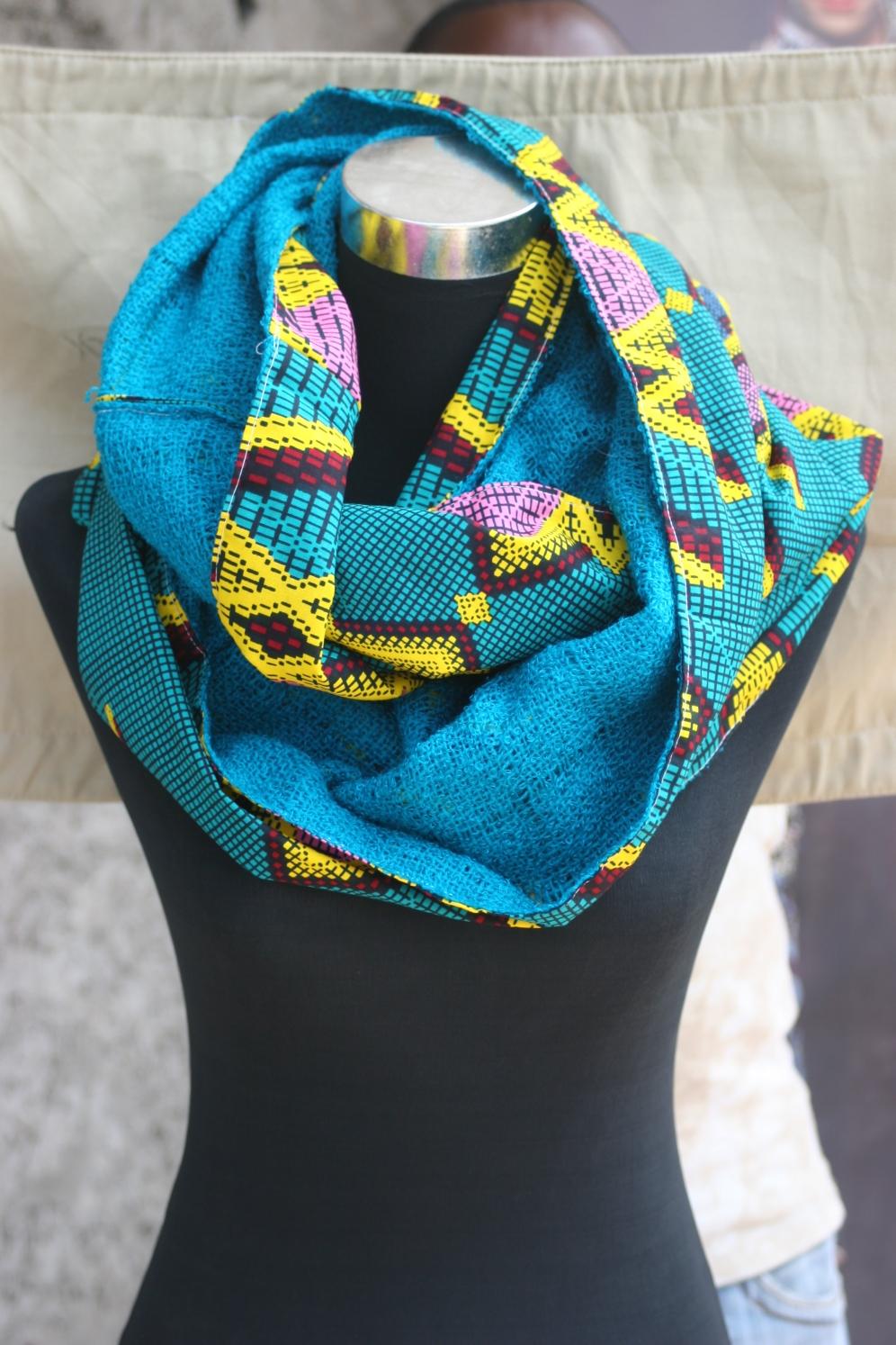 Echarpe/foulard col snood Unisex réversible en wax doublé d'un tissu en coton pour adulte(Création 2016)